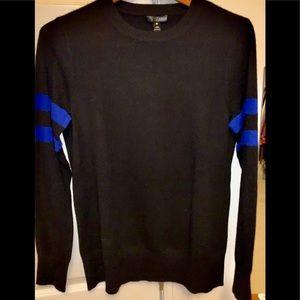 Aqua |Crew Neck, 100% Cashmere color block sweater